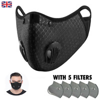 Anti Dust Reusable Protection for Sport, Bike, With Filters, Washable, Black
