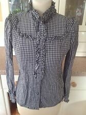 GREAT KIMCHI & BLUE FITTED BLACK/WHITE CHECK FRILLED SHIRT UK SIZE S/10 WORN