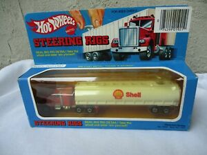 Vintage Hot Wheels Peterbilt SHELL Tanker Steering Rigs Semi Truck NISB