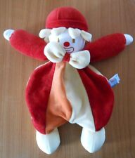 DOUDOU Peluche SUCRE D'ORGE CLOWN SEMI PLAT ROUGE / JAUNE / ORANGE 30 cm - D188