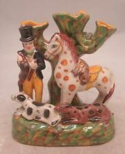 Staffordshire Pottery Spill Vase Figure After the Hunt Man with Horse & Gundogs