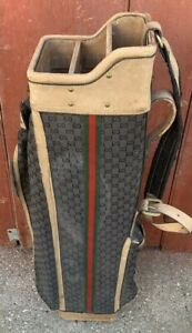 vintage golf bag Gucci 1960s rare leather storage tote photo shoot golfing sport
