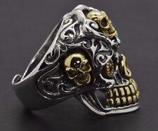 Sterling Silver Harley Biker Day of Dead Gold Gothic Sugar Skull Ruby Mens Ring
