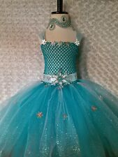 Little Girl Toddler dress/ Elsa Frozen/ tutu tea/5T-8kids/lined/cape/headband/