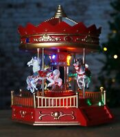Rotating Christmas Carousel LED Decoration Animated Musical Pre Lit Village