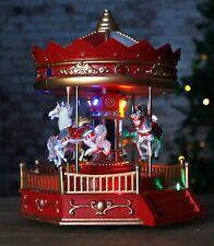 Rotating Christmas Carousel LED Decoration Animated Musical Pre Lit Village