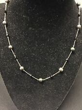 10kt Solid Yellow Gold W/ Fresh Water Dark Grey Pearls and Black Stone Necklace