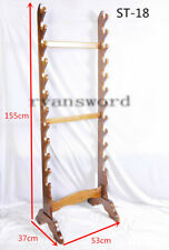 12-Tier Wood Display Stand for Japanese Katana Wakizashi Chinese Sword