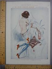 Rare Original VTG 1925 French Frolics Nude Lady Color Illustration Art Print