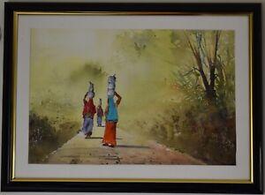 Original Watercolour Painting - Women carrying utensils, India