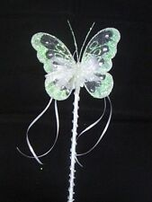 FLOWER GIRL OR BRIDESMAID  WHITE BUTTERFLY WAND + CRYSTALS