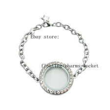 Round Locket Bracelets Free Shipping 5pcs Silver Floating Charms Glass Crystal