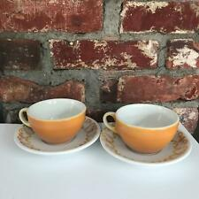Set of 2 Harvest Gold Jackson Coffee Cups Fluer de Lis Mid Century Vintage RETRO