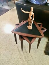 One Arthur Umanoff Teak Nesting Tables Mid Century Modern Triangle Top Stackable