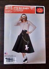 Simplicity Pattern 2114 1950s Poodle Skirt Rockabilly Costume Misses 6-22 Uncut