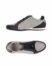 New $395 Emporio Armani Men Sneaker Leather Logo Fabric Black/Gray Shoe10US/9UK