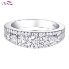 Silver Wedding Band Engagement Ring Size 8 Women Round White Aaa Cz 925 Sterling
