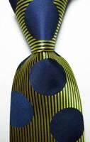 New Classic Polka Dot Dark Blue Yellow JACQUARD WOVEN Silk Men's Tie Necktie
