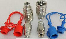 2 x Hydraulik Kupplung BG3 Stecker 15-L Radlader Bagger blau rot Staubschutz 15L
