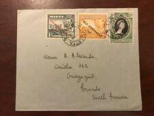 1953 Malta Valletta Cover to South Africa King George VI QEII Queen Elizabeth II