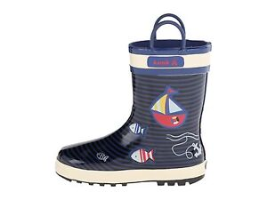 Rain Boots 100% Waterproof  Sailboats  & Fishys Navy/Off White   Boys Size 11