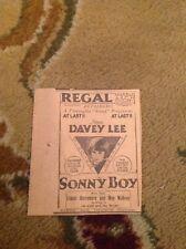 ephemera 1929 Film Advert Sonny Boy Davey Lee Child Star Regal London  ea1