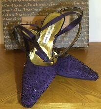 Ann Marino Vintage Long Strap High Heel Sandals Size 7 Plum Purple w/Rhinestone
