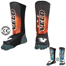 VELO Shin Instep Pads Lycra Curved MMA Leg Guards Foot Kick Boxing Protectors