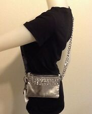 NWT GUESS SILVER SHINY RHINESTONE CHAIN CLUTCH PURSE SHOULDER BAG RETAIL $115+