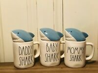 Rae Dunn Summer by Magenta BABY MOMMY DADDY SHARK with Blue Mug Topper, Set of 3