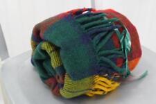 Tartan Plaid Vintage Wool Throw Gold Reds Greens Fringed Ends