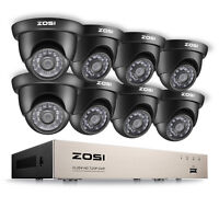 ZOSI 720P Outdoor Dome Home Surveillance Security Camera System HD 8CH HDMI DVR