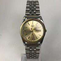 Timex Mens 395 LA Cell Vintage Gold Bezel Dial Day Date Quartz Bracelet Watch
