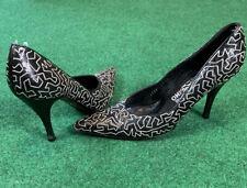 Ferragamo Vintage Heels Pointy Toe Black Leather Puzzle Size 9 Salvatore
