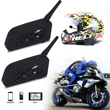 2pcs Motorcycle Bluetooth Helmet Intercom Waterproof Interphone Headsets 1200m