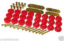 Universal Polyurethane Body to Frame Mount Bushing Set (12 Location Set) - RED