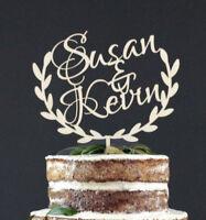 Personalized Couple Wooden Wedding Cake Topper Decoration Keepsake