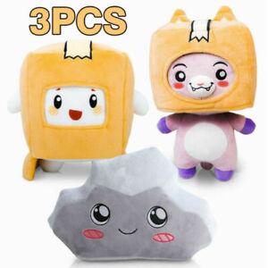 Lankybox BOXY+FOXY+ROCKY Plushie Doll Plush Stuffed Toy Kid Soft Game Figure Set