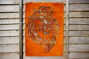 Large Rusty Lion Metal Wall Art