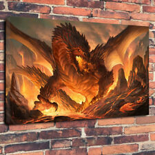 "Fire Breathing Dragon Printed Box Canvas Picture A1.30""x20""30mm Deep Fantasy Art"