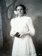Antique Cabinet Photo Girl Wearing Eyeglasses Holding Book Dingman Wisc - Estate