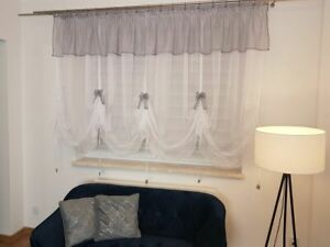 """Novelty ready made white greynvoile net curtain Swags W400cm(157"""") x D160cm(62"""")"""