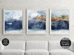 Set of 3 Abstract Art Prints of Painting Navy Blue Yellow Golden Mountains print