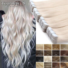 BLONDE Russian Tape In Remy Real Human Hair Extensions Full Head Thick 150g UK