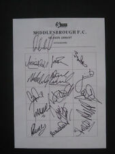 MIDDLESBROUGH FC  -1996-97 - Original signatures of players on A4 sheet