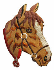 "#3810M 4 1/2"" Palomino Horse Head Embroidery Iron On Applique Patch"
