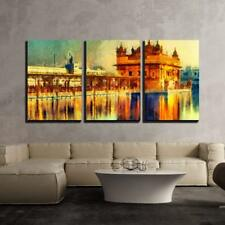 """Wall26 - Golden Temple at Amritsar India Oil Painting - Canvas- 16""""x24""""x3 Panels"""