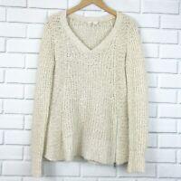 Moth Anthropologie Knit Side Zipper Oversize Sweater Small Tan Women V-Neck M446