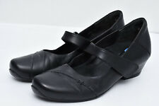 Ziera Women's Sz 7.5 Black Walking Wedge Heel Leather Mary Janes Comfort Shoes