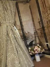 """NEW! Sublime Huge French Damask Mauve Grey 115""""D 78""""W Long Lined Curtains"""